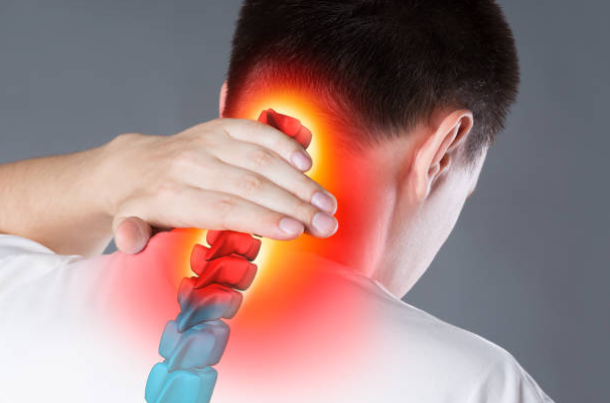 Man with neck pain needs chiropractic adjustment